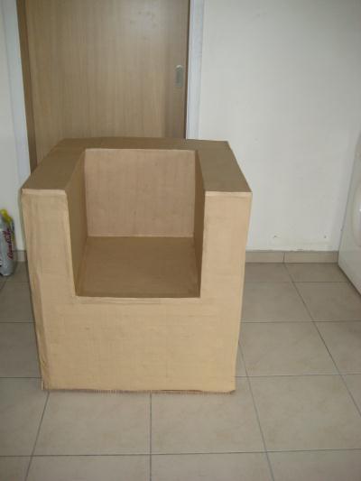 fauteuil en carton kraft cr ation meuble en carton de sabcrea n 32 534 vue 5 475 fois. Black Bedroom Furniture Sets. Home Design Ideas