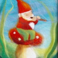 Lutin musicien sur son champignon