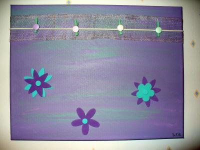 Accroche souvenirs, toile acrylique violette
