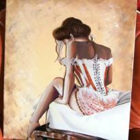 Femme coquette de dos, tableau 3D