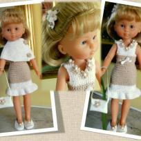 Tenue Chic pour poupée Chérie - Robe à godets et cape blanche
