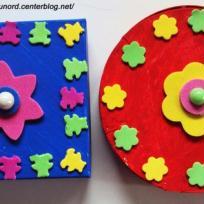 boîte à bijoux réalisée pour la fête des mères rouge et bleu