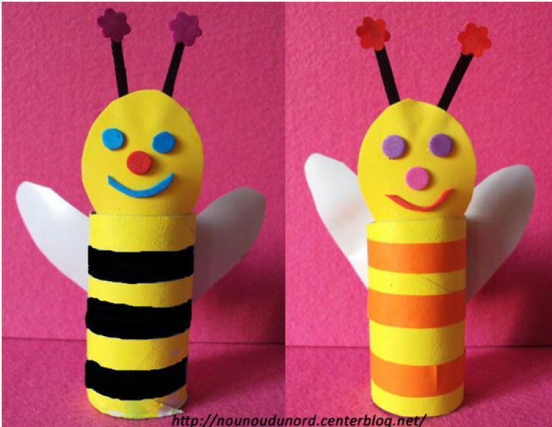 abeilles fun avec des rouleaux de papier wc cr ations. Black Bedroom Furniture Sets. Home Design Ideas