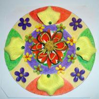 Mandala fantaisie aux couleurs flashy