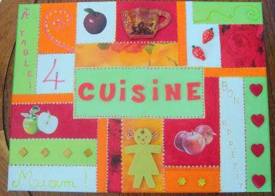 Tableau de cuisine pour la classe en rouge vert orange et blanc cr ation - Tableau cuisine rouge ...