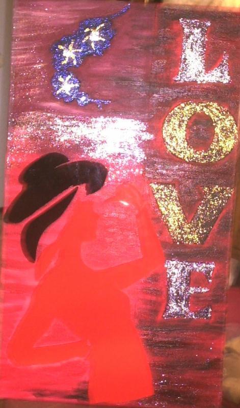 Peinture acrylique sur toile avec effet paillet - Peinture a effet paillete ...