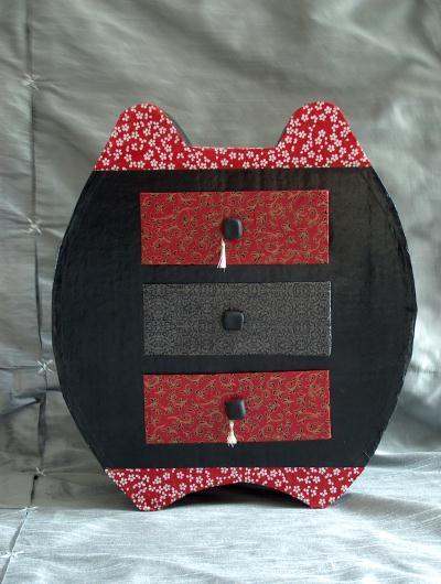Boite bijoux en carton rouge et noir cr ation meuble - Boite a bijoux en carton fabrication ...
