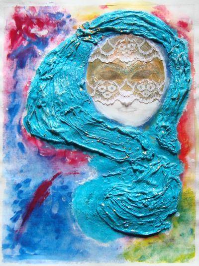 Tableau La mystérieuse avec bande de platre, masque et dentelle