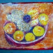 Coupe de fruits en peinture acrylique