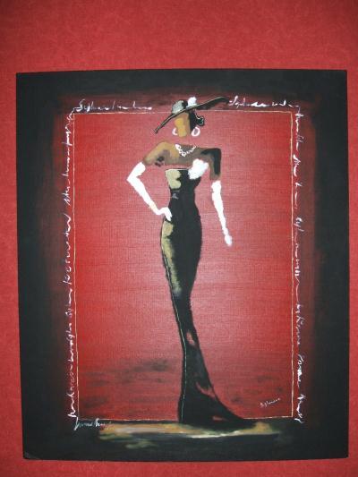 Tableau femme l gante avec peinture l 39 huile rouge noir - Tableau peinture noir et blanc ...