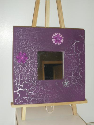 miroir en bois peinture violet effet craquel argent cr ation home d co et miroir de barbarins. Black Bedroom Furniture Sets. Home Design Ideas