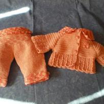 Petit ensemble pantalon et veste orange pour petite fille de 0 à3 m