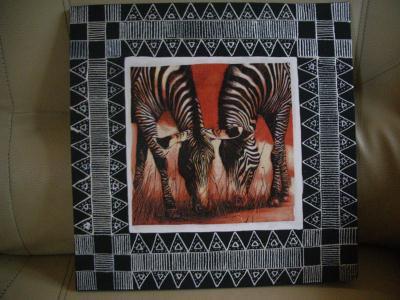 Tableau africain zebre cr ation home d co et miroir de for Miroir zebre