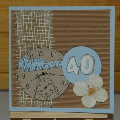 carte joyeux anniversaire 40 ans et son horloge cr ation carterie faire part de n. Black Bedroom Furniture Sets. Home Design Ideas