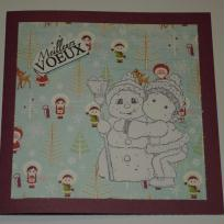 Carte de voeux cassis -  l'enfant et le bonhomme de neige n°2