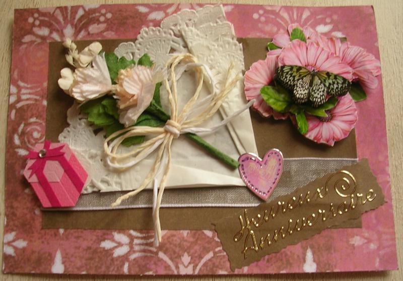 carte anniversaire fleurs et papillon cr ations carterie faire part de cerise n 38741 vue. Black Bedroom Furniture Sets. Home Design Ideas