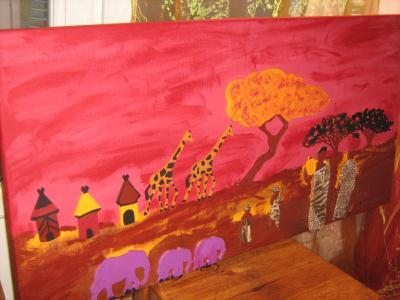 Tableau africain naif aux couleurs chaudes cr ation home - Tableau couleur chaude ...