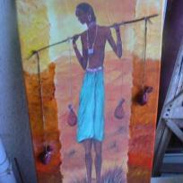 Tableau  soie de paille le jeune africain