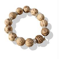 Collier de perles en bois pyrogravé