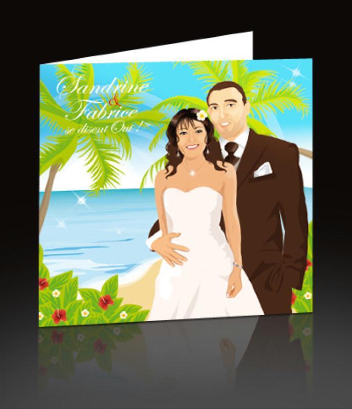 faire part de mariage th me plage exotique mer cocotier cr ations carterie. Black Bedroom Furniture Sets. Home Design Ideas