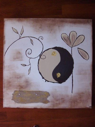 Tableau ying et yang beige marron cr ation home d co et for Deco ying yang
