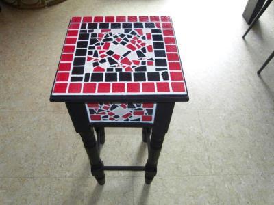 Table basse mosa que rouge et noir cr ation art de la - Table basse rouge et noir ...