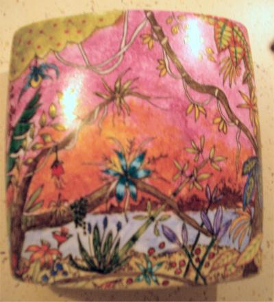 Vase plat peinture porcelaine motif exotique recto for Motif peinture