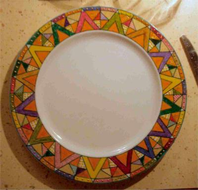 Assiette De Mon Service De Table Motif Triangles Cr Ations Peinture Sur Porcelaine Et Verre De