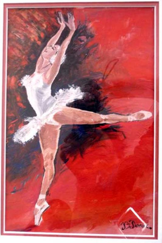 danseuse toile sur fond rouge et noir huile sur toile cr ations beaux arts peinture de. Black Bedroom Furniture Sets. Home Design Ideas