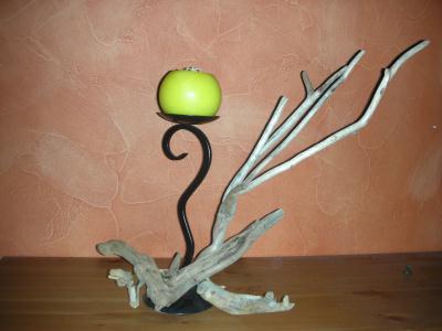 bougeoir m tal noir et bois flott cr ation bougies de anne1963 n 42 979 vue 1 314 fois. Black Bedroom Furniture Sets. Home Design Ideas