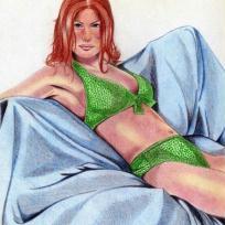 Jeune fille au maillot de bain vert
