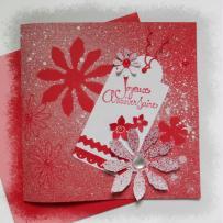 Carte anniversaire en rouge et blanc grandes fleurs