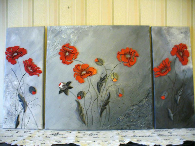 Tableau rouge sur gris coquelicots dans le vent cr ations home d co et mi - Tableau rouge et gris ...
