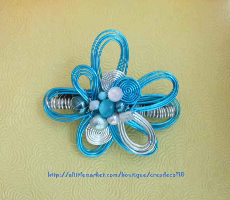 Creation Bijoux Fantaisie : Cr?ation bijoux fantaisie barette design fleur en fil d