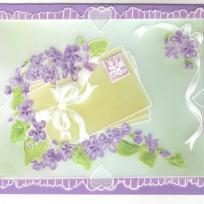 Création carte pergamano : courrier et violettes