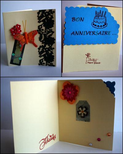 cr ation carte anniversaire dentelle et papillon cr ation carterie faire part de guizmo n. Black Bedroom Furniture Sets. Home Design Ideas
