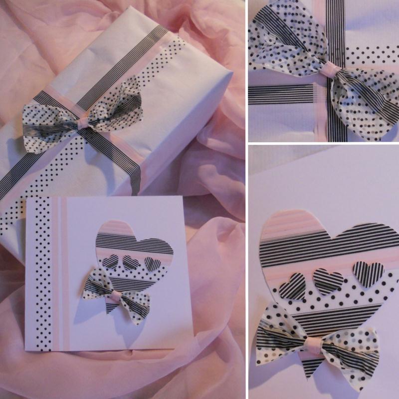 cr ation masking tape paquet cadeau et sa carte cr ations d coration de f tes de paucile n. Black Bedroom Furniture Sets. Home Design Ideas