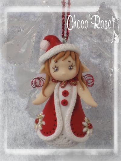 Cr ation figurine de no l en p te fimo rosy fairy aveleen suspendre au sa - Creation sapin de noel ...