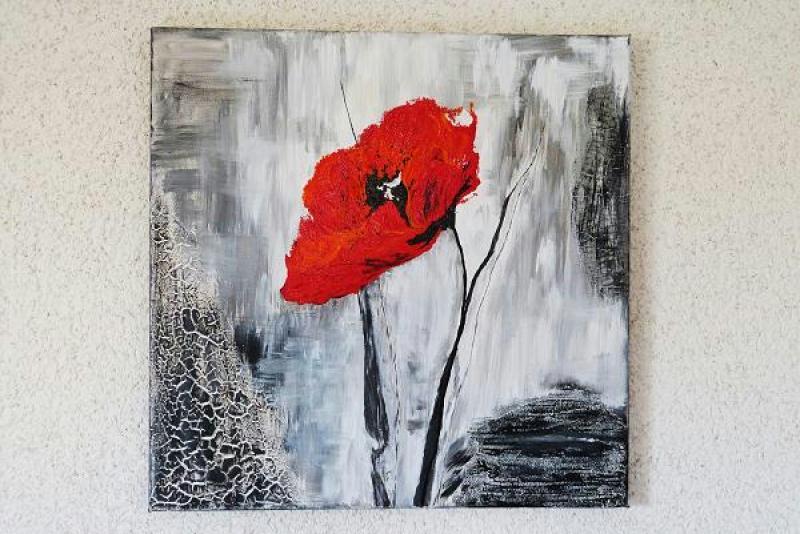 Cr ation peinture acrylique deuxi me tableau coquelicot cr ations peint - Tableau peinture acrylique ...