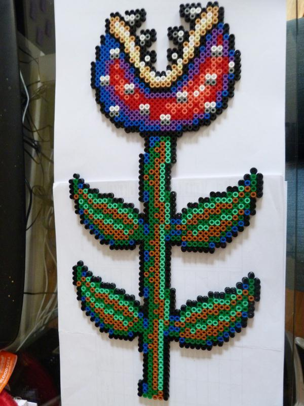 Pixel art bead sprites plante carnivore mario for Plante mario