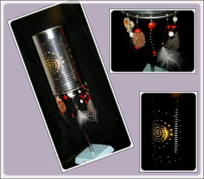 lampe en bo te de conserve recycl e cr ation lampes et guirlandes lumineuses de faustine974 n. Black Bedroom Furniture Sets. Home Design Ideas