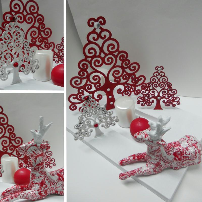 No l en rouge et blanc d coration de table cr ations for Decoration de noel rouge et blanc