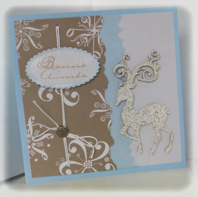 Cr ation carte de voeux scrapp e taupe et bleu cr ation carterie faire part de paucile n - Creation carte de voeux ...
