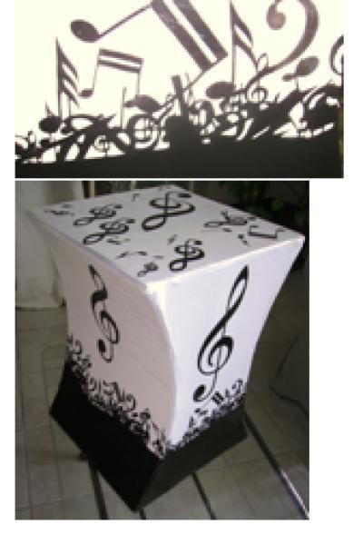 Cr ation meuble en carton 4 me tabouret en noir et blanc for Creation meuble carton
