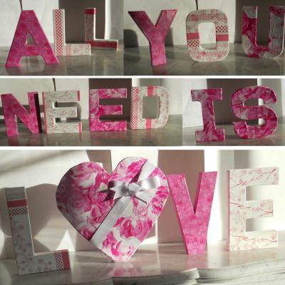 D coration de st valentin composition de lettres en carton cr ation d cor - Lettre de decoration ...