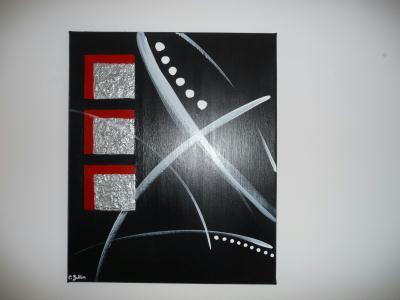 cr ation peinture acrylique toile rouge gris m tal blanc et noir cr ation peinture multi. Black Bedroom Furniture Sets. Home Design Ideas
