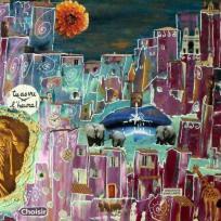 Création peinture acrylique : il est grand temps, l'heure tourne, peinture et collage