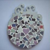 Création mosaïque : dessous de verre coloris mauve