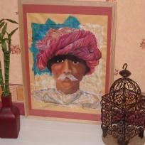 Dessin au pastel : homme au turban , rose