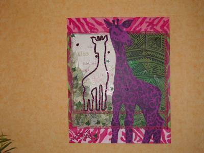 Création peinture acrylique : la maman girafe et son bébé